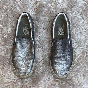 Used Silver Slip-On Vans